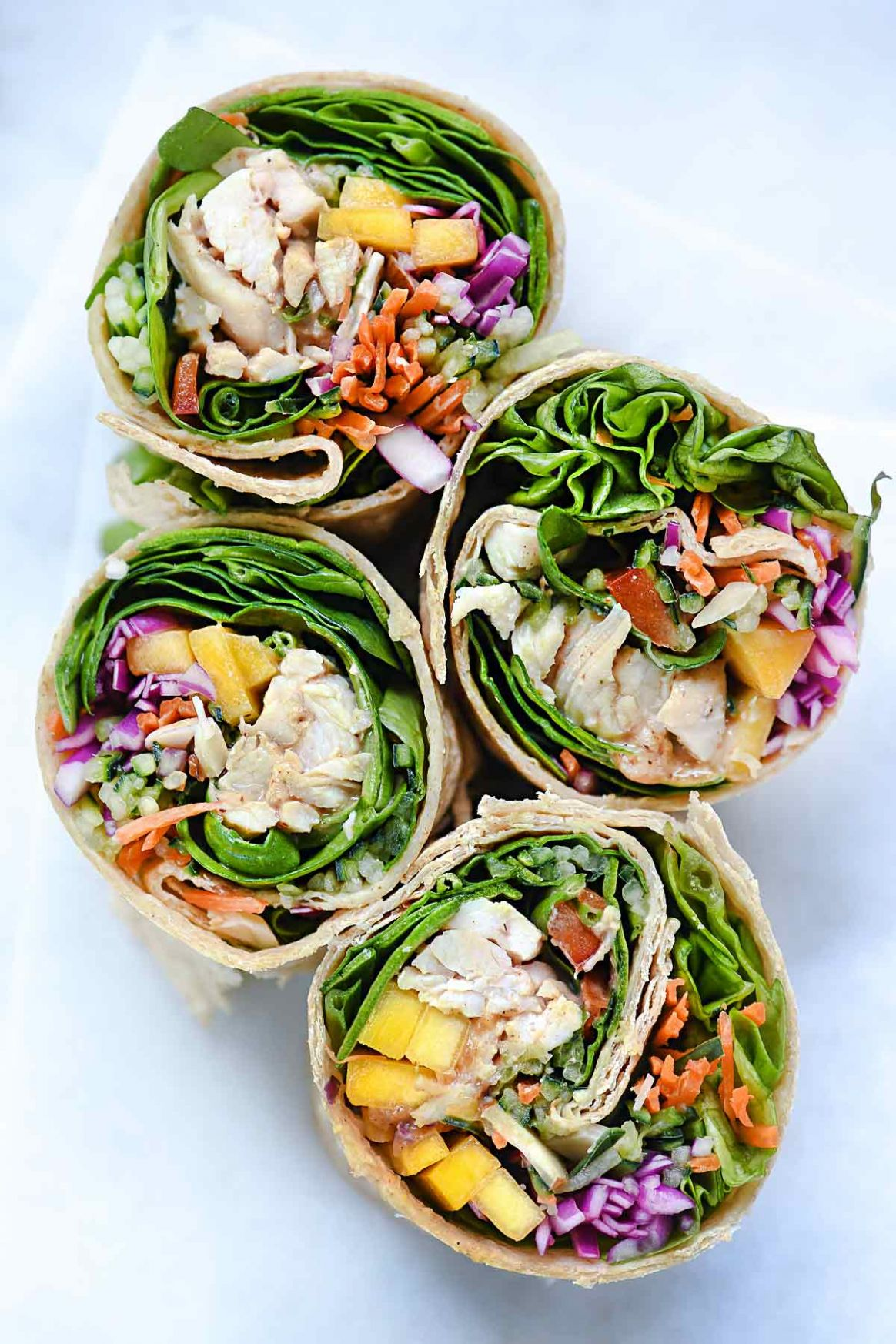 Chicken and Mango Rainbow Veggie Wraps | foodiecrush.com
