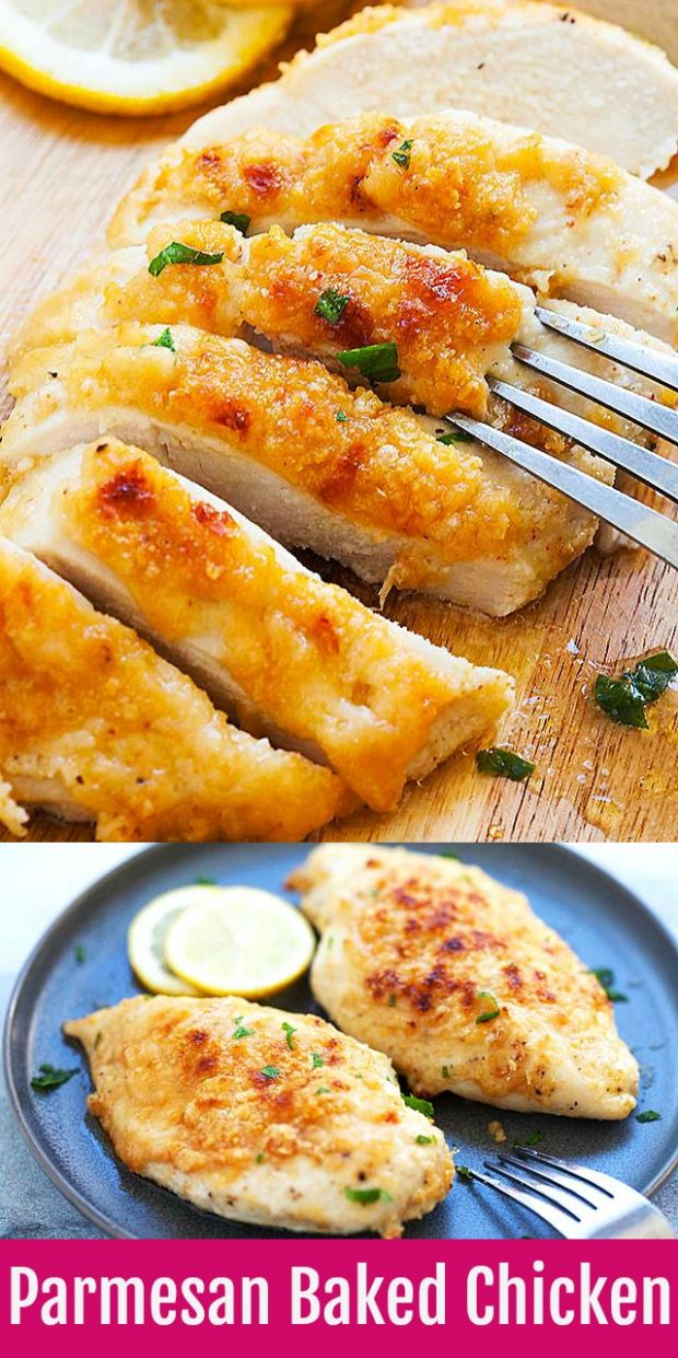 Chicken Breast Recipes - Baked Chicken Breast with Parmesan Cheese - Simple Recipes Chicken Breast