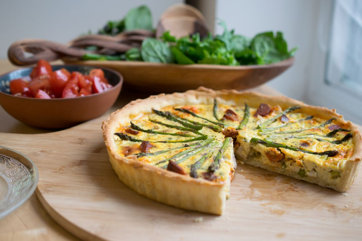 Chicken, Chorizo & Asparagus Quiche - Every Nook & Cranny