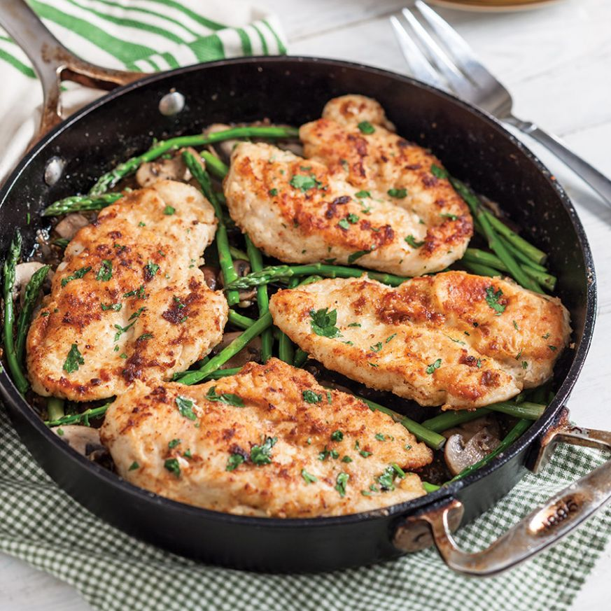 Chicken Cutlets with Asparagus and Mushrooms - Recipes Chicken Breast Cutlets