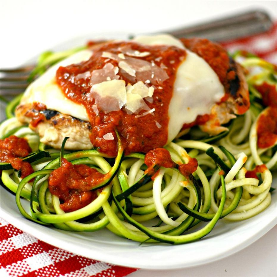 Chicken Parmesan with Zucchini Pasta - Recipe Chicken Zucchini Pasta