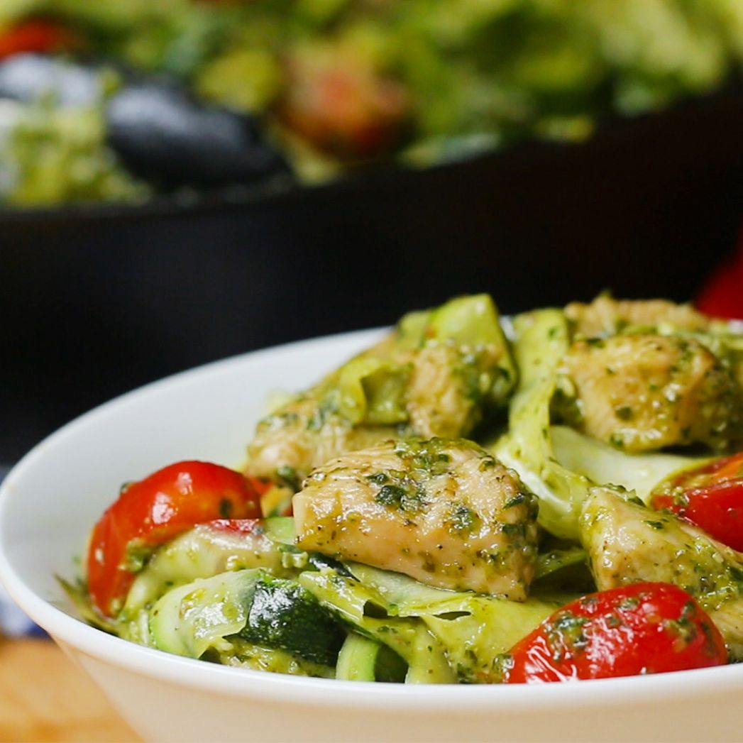 "Chicken Pesto And Zucchini ""Pasta"" Recipe by Tasty - Recipe Chicken Zucchini Pasta"