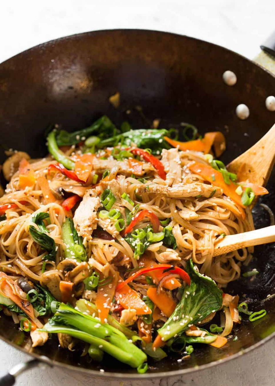 Chicken Stir Fry with Rice Noodles - Recipes Rice Stick Noodles