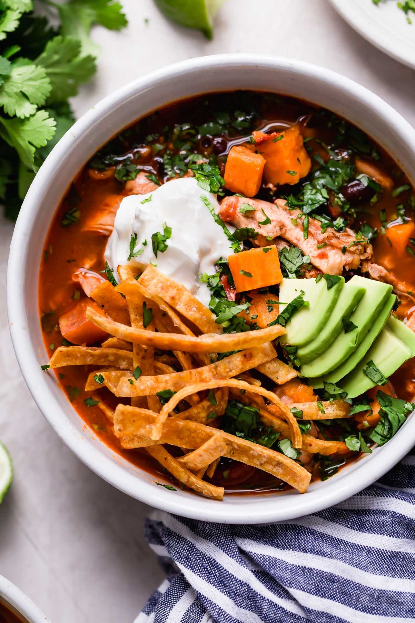 chicken tortilla soup with sweet potatoes (& beer!!) - Soup Recipes Light