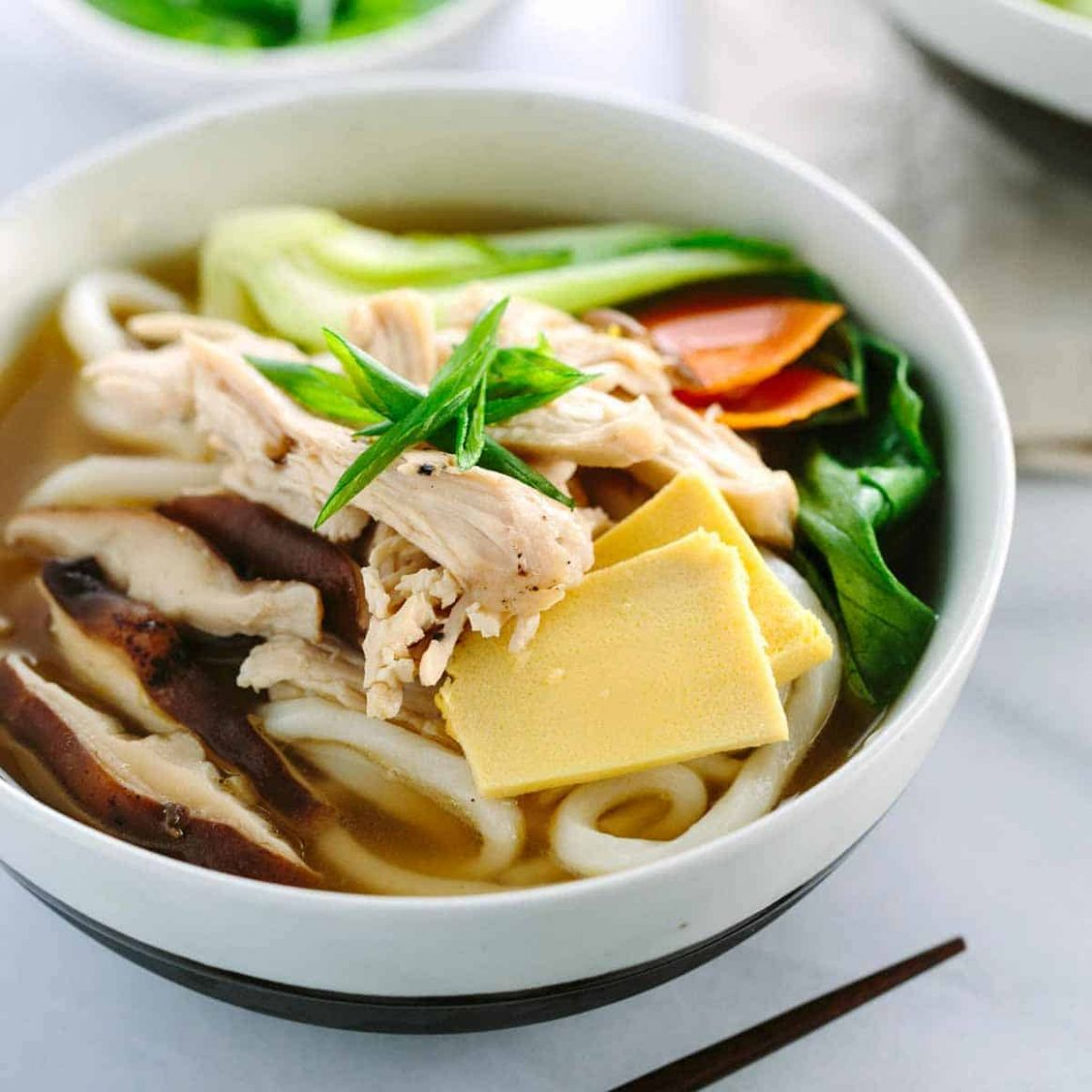 Chicken Udon Soup with Bok Choy - Recipe Chicken Udon Noodles