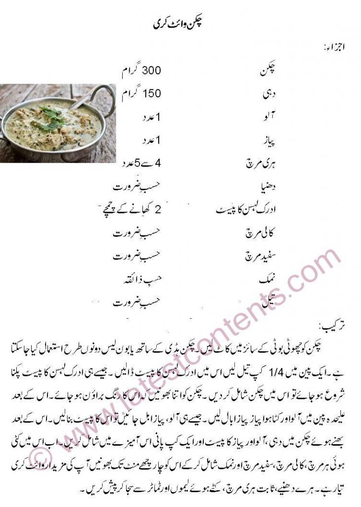 Chicken White Curry in Urdu - Urdu Recipes Kari