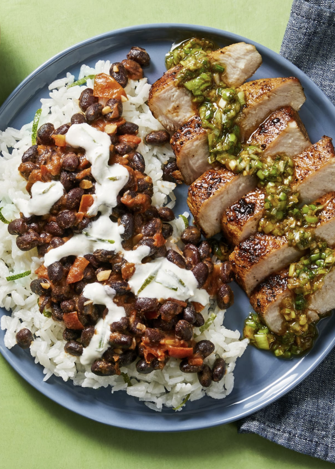 Chimichurri Pork Chops and Buttery Black Beans over Rice - Recipes Over Rice