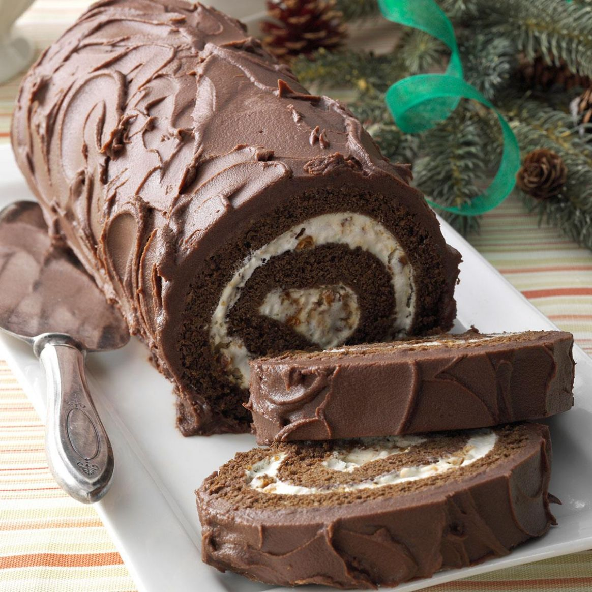 Chocolate Cake Roll with Praline Filling - Recipe Chocolate Jelly Roll Cake