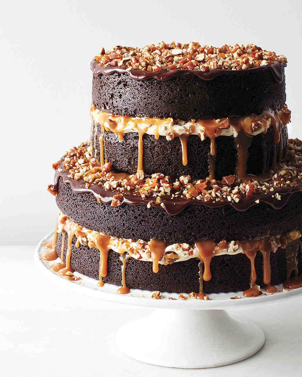 Chocolate Stout Cake with Caramel Buttercream, Salted Caramel, Candied  Pecans, and Ganache - Cake Recipes Martha Stewart