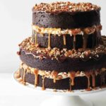 Chocolate Stout Cake With Caramel Buttercream, Salted Caramel, Candied  Pecans, And Ganache – Recipes Chocolate Wedding Cake