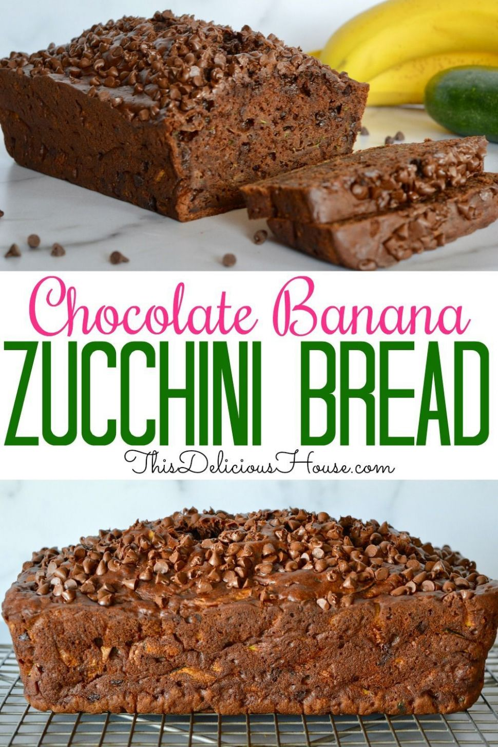 Chocolate Zucchini Banana Bread - Recipe Chocolate Zucchini Banana Bread
