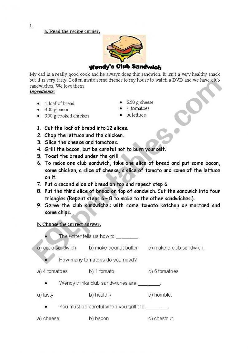 Club Sandwich Recipe worksheet - Recipes Of Sandwich In English