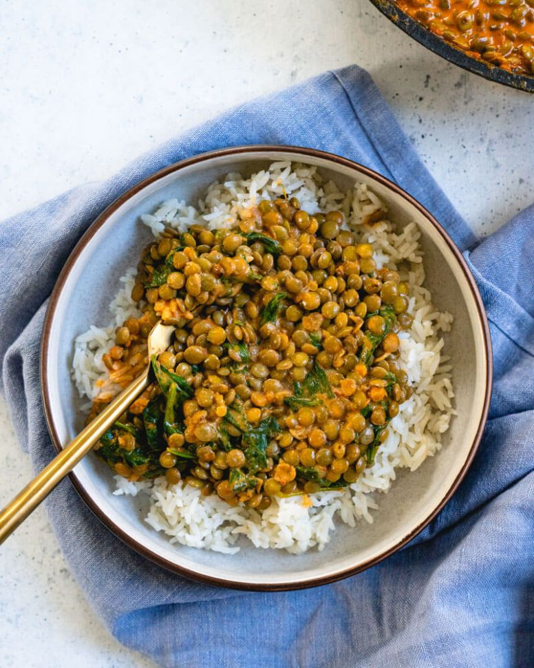 Coconut Lentil Curry with Greens - Easy Recipes Lentils