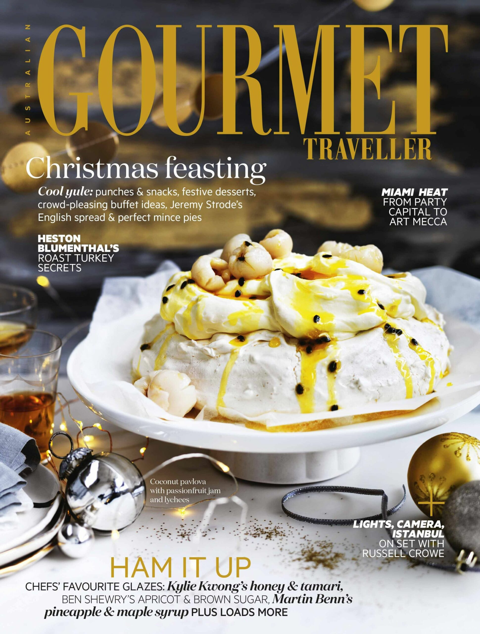 Coconut pavlova with passionfruit jam and lychees - Dessert Recipes Gourmet Traveller