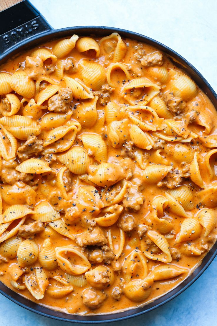 Creamy Beef and Shells - Recipes Pasta Mince Beef