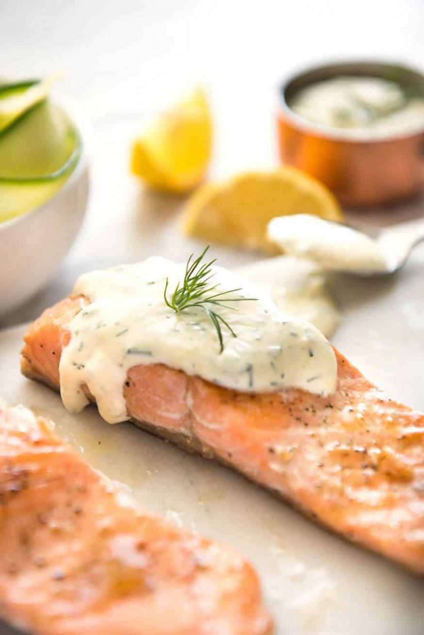 Creamy Dill Sauce with Salmon or Trout - Recipe Fish Dill
