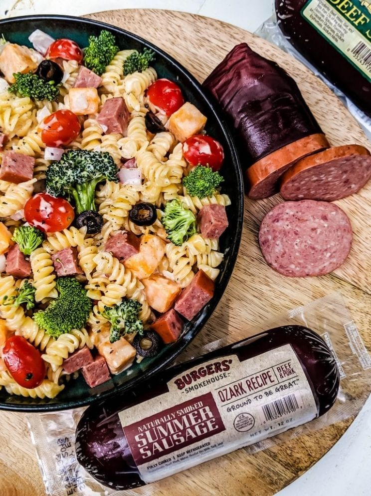 Creamy Pasta Salad with Summer Sausage - Blackberry Babe - Recipes Using Summer Sausage