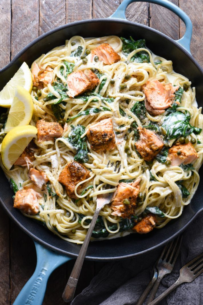 Creamy Salmon Pasta with Spinach - Recipes Pasta And Salmon