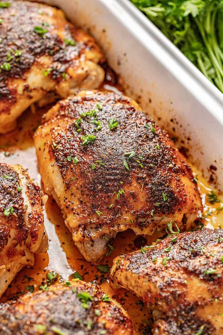 Crispy Oven Baked Chicken Thighs - Recipe Chicken Oven Baked