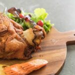 Crispy Pork Knuckle Or German Pork Hocks On Wood Board – Recipe Pork Knuckle German