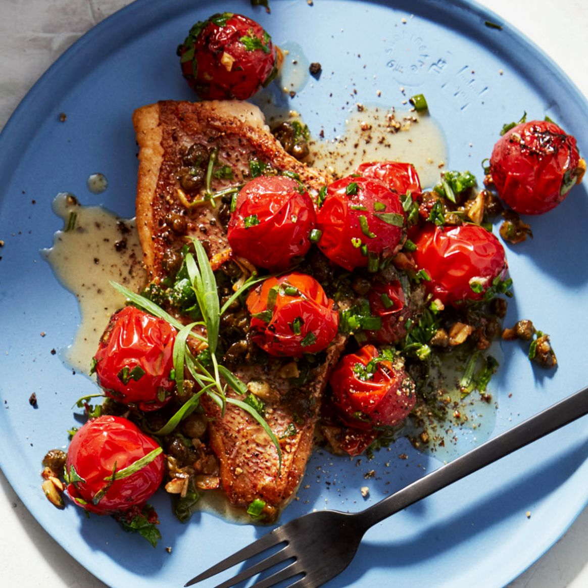 Crispy-Skin Fish with Roasted Cherry Tomato Sauce - Recipe Fish With Tomato Sauce