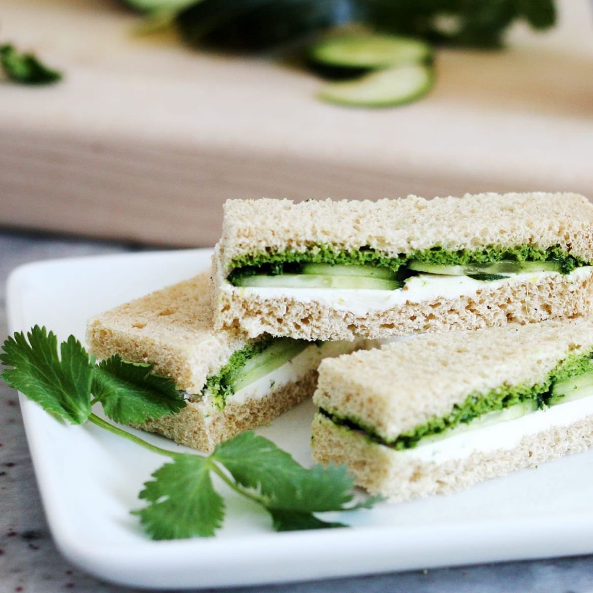 Cucumber and Mint Cilantro Chutney Tea Sandwiches Recipe - Sandwich Recipes Chutney