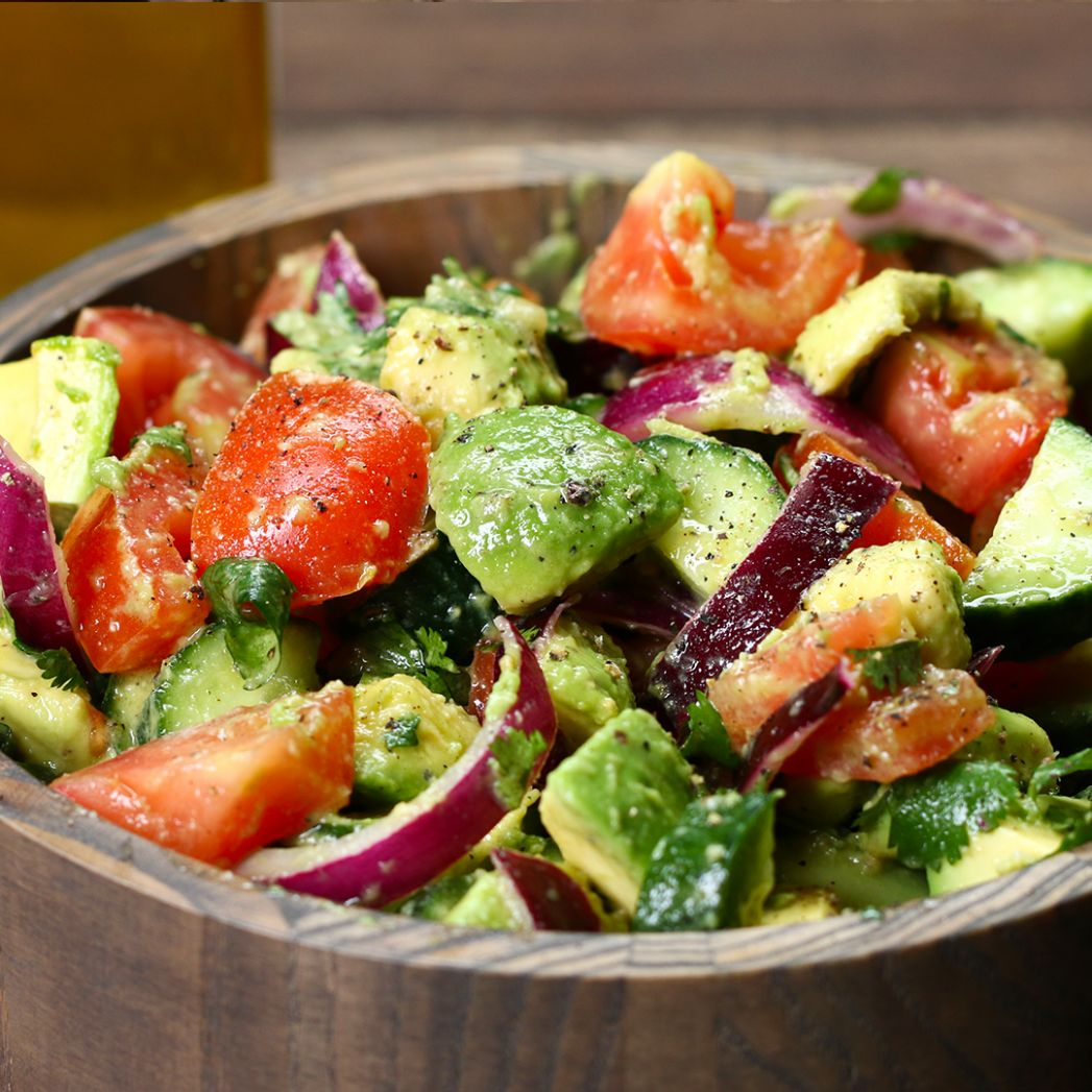 Cucumber, Tomato, And Avocado Salad Recipe by Tasty - Recipes Salad With Avocado And Tomato