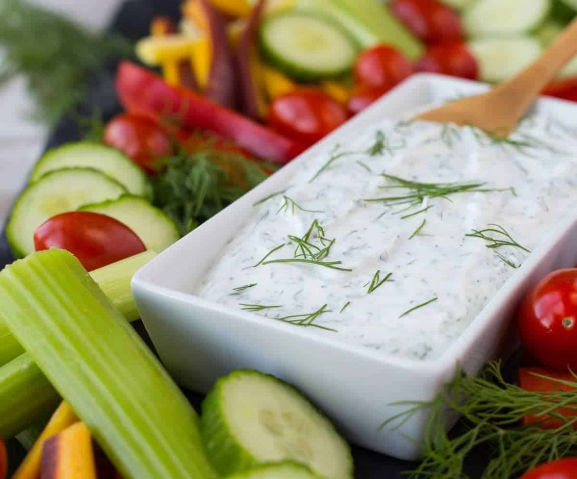 Dill Vegetable Dip Recipe - Healthy Version! | with video - Rachel ..