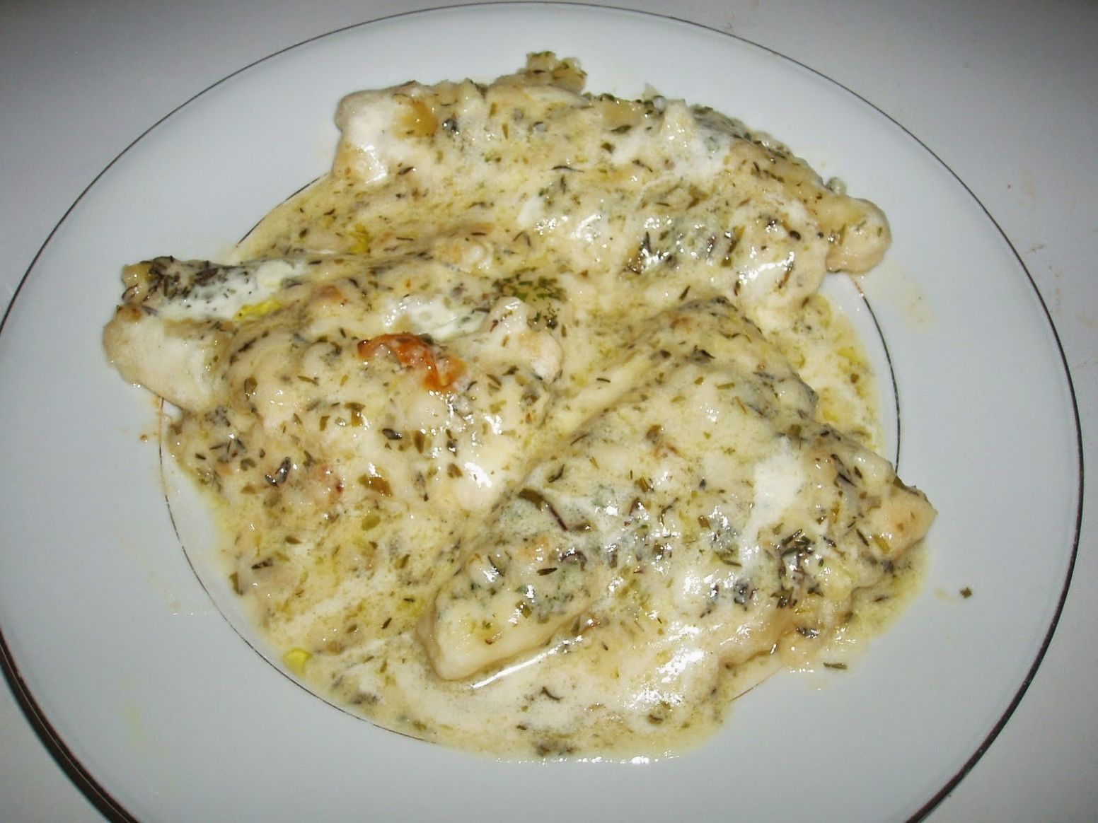 Dinner Recipes Idea: Baked Fish in White Sauce with Dirty Rice - Recipe Fish In White Sauce
