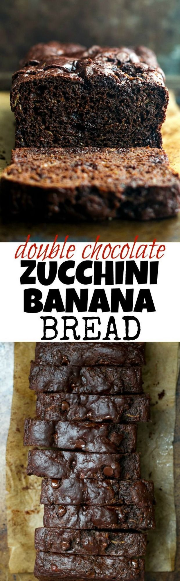 Double Chocolate Zucchini Banana Bread - Recipe Chocolate Zucchini Banana Bread