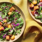 Early Summer Salad With Tempeh Croutons And Beet Dressing – Salad Recipes No Meat