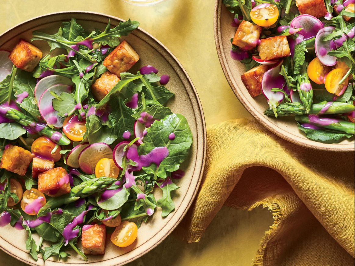 Early Summer Salad With Tempeh Croutons and Beet Dressing - Salad Recipes No Meat