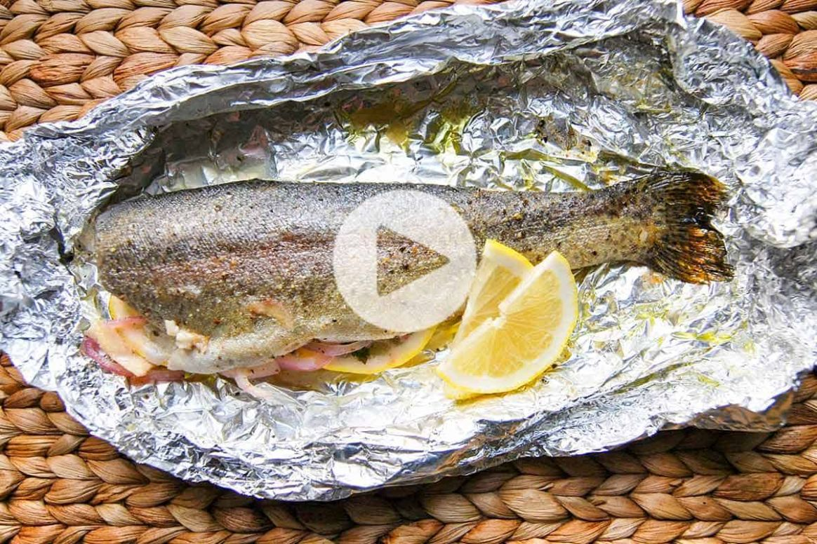 Easy 11 Minute Oven Baked Trout - Recipe Fish On The Grill In Foil