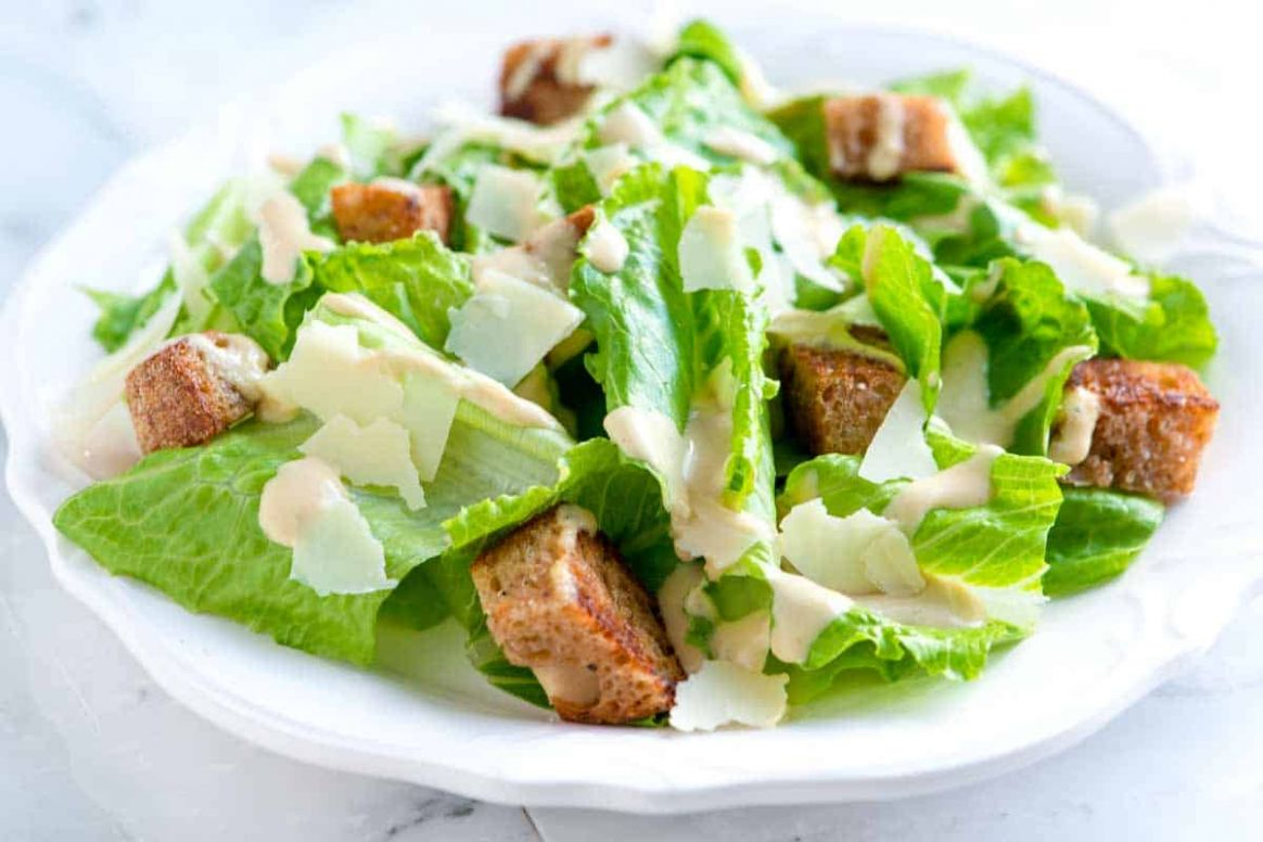 Easy Caesar Salad Recipe with Homemade Dressing - Salad Recipes Easy