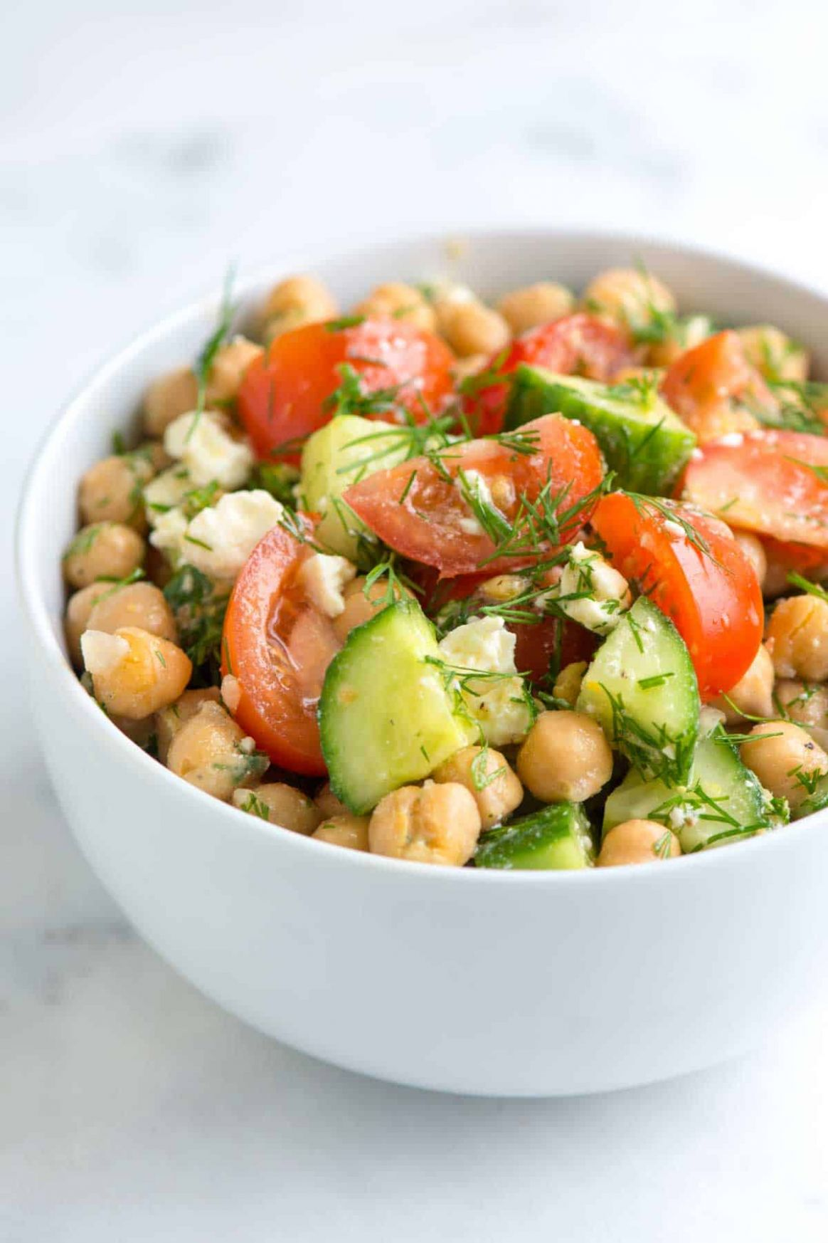 Easy Chickpea Salad with Lemon and Dill - Salad Recipes Chickpeas