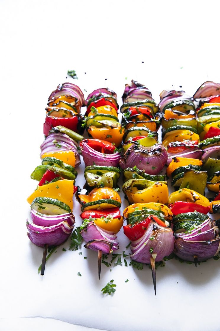 Easy Grilled Veggie Skewers - The Forked Spoon - Recipe Vegetarian Kebabs