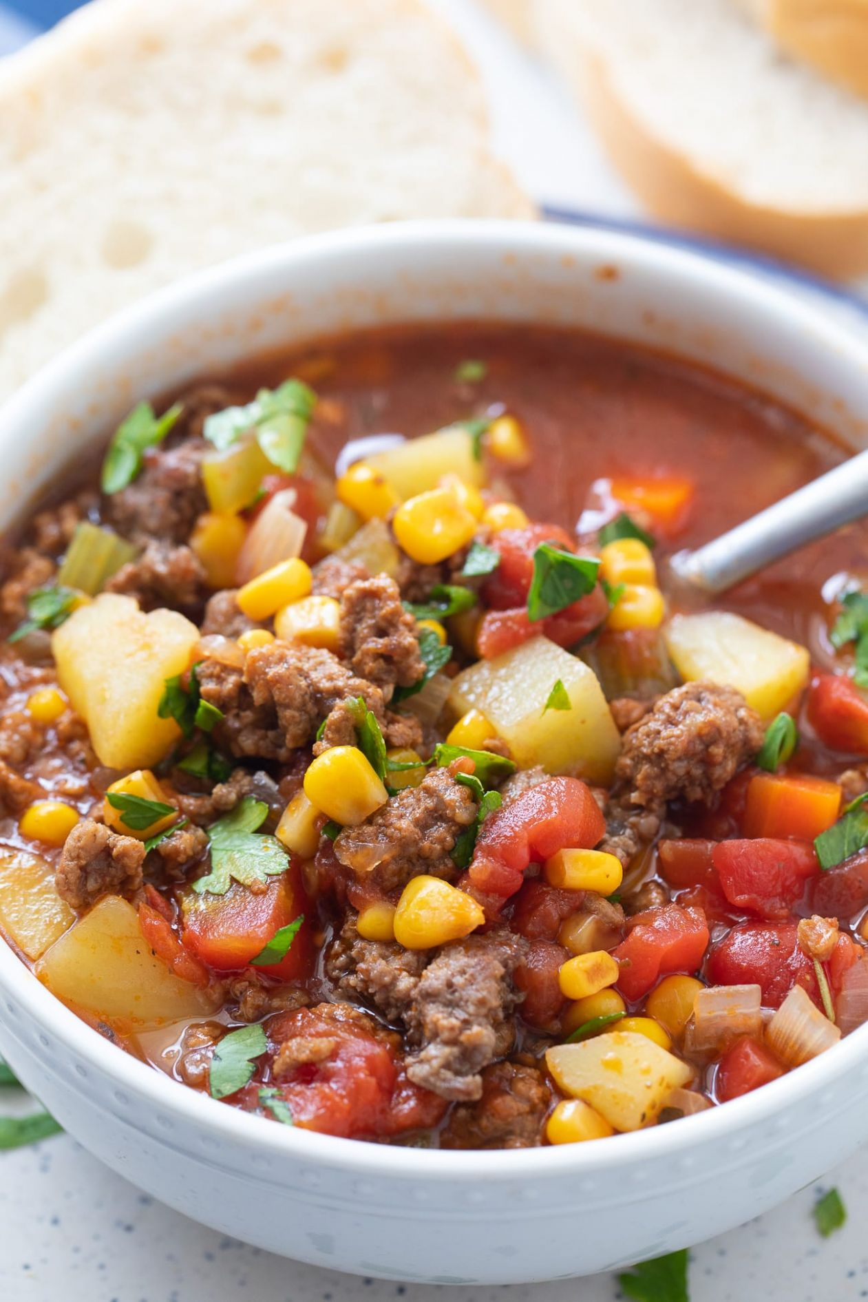 Easy Hamburger Soup Recipe (Ground Beef and Vegetable Soup!) - Soup Recipes Using Ground Beef