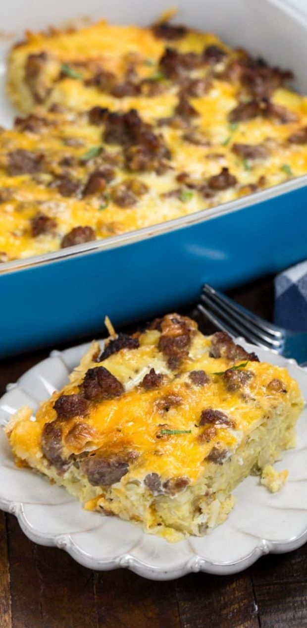 Easy Hash Brown Casserole (eggs, sausage, & cheese) - Crazy for Crust - Recipe Egg Hash Brown Sausage Casserole