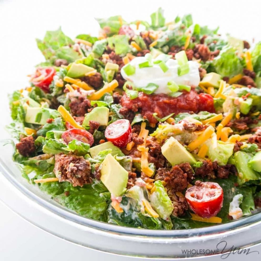 Easy Healthy Taco Salad Recipe with Ground Beef - Salad Recipes No Meat