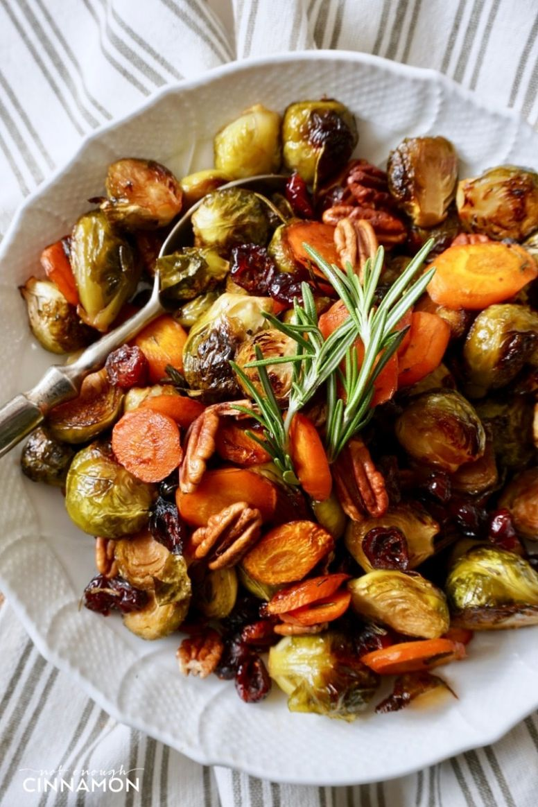 Easy Holiday Roasted Vegetables with Pecans and Cranberries - Vegetable Recipes Thanksgiving