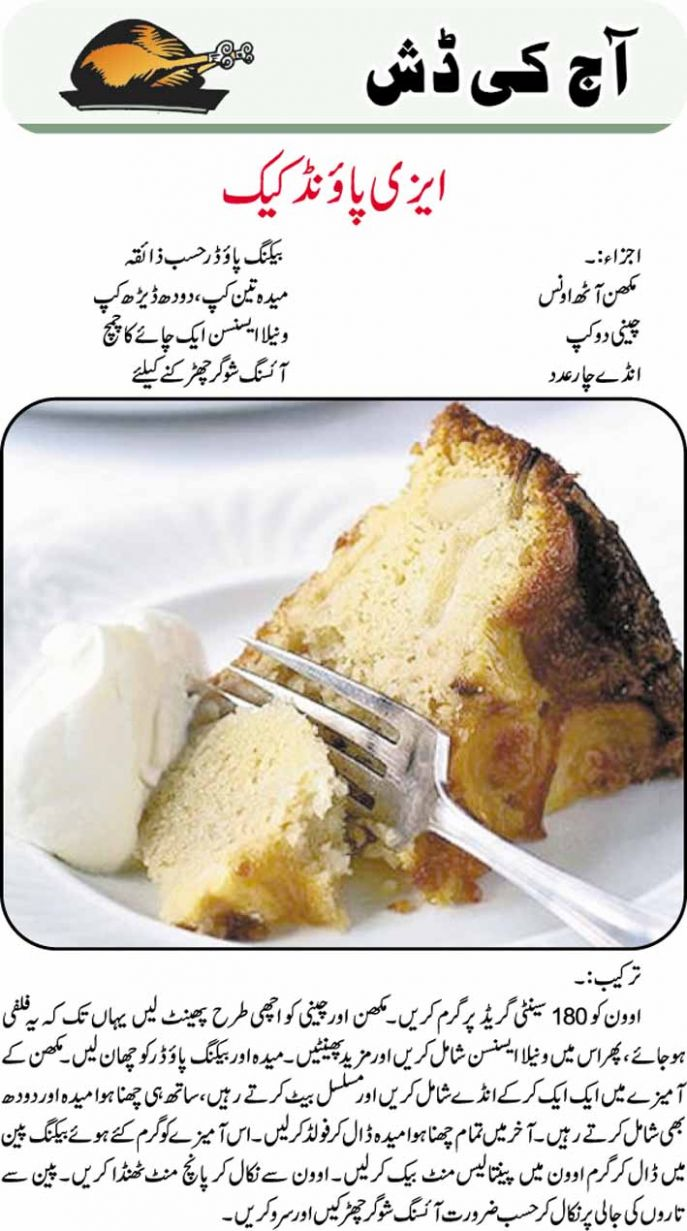 Easy Pound Cake Urdu Recipe - Urdu Recipes Easy