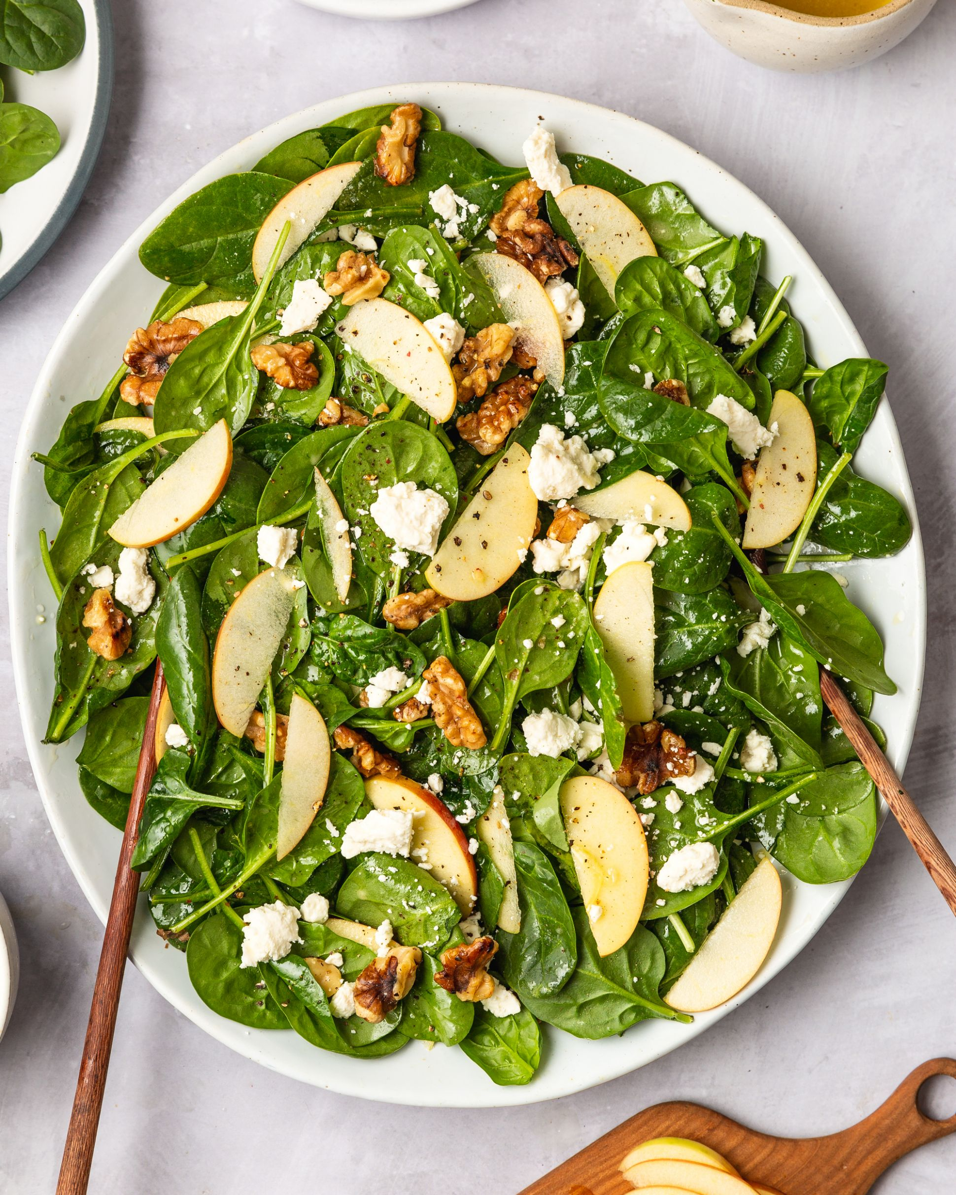 Easy Spinach Salad with Apples, Walnuts, and Feta - Salad Recipes Easy