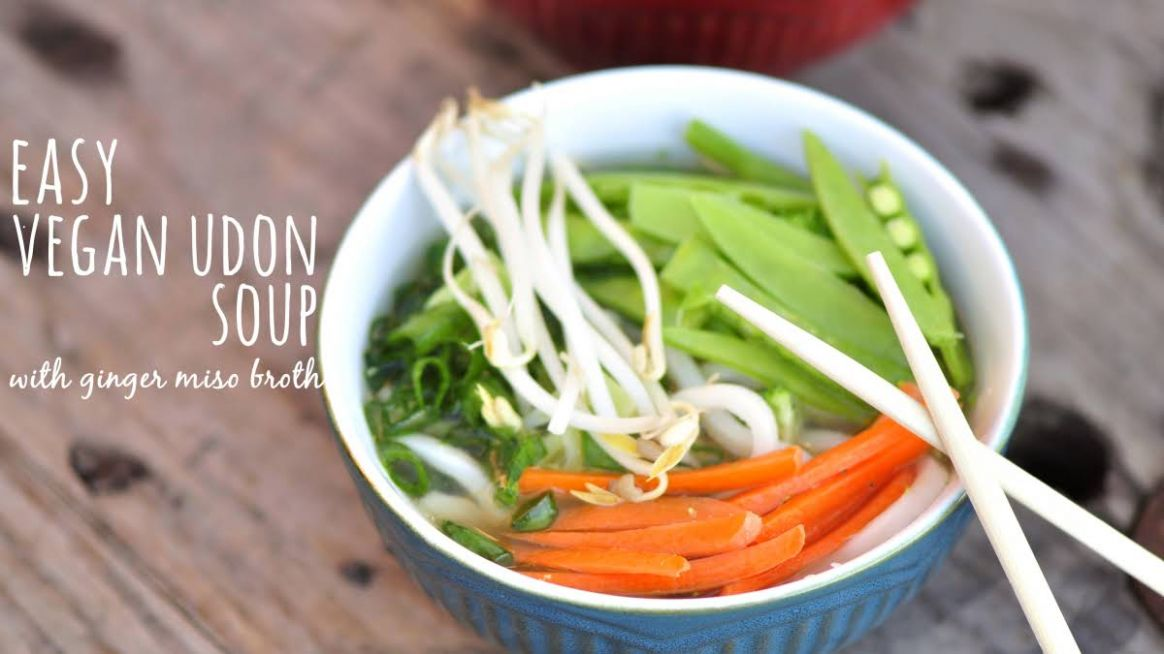 Easy Vegan Udon Soup with Ginger Miso Broth - Recipe Vegetarian Udon Noodle Soup
