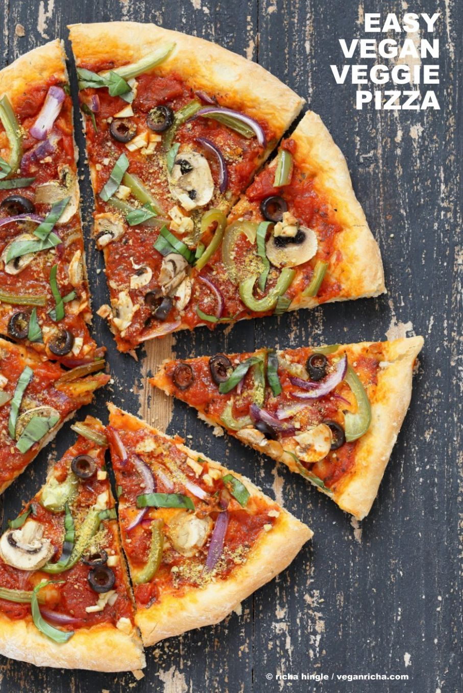 Easy Veggie Vegan Pizza with 12 minute Crust - Recipes Vegetable Pizza