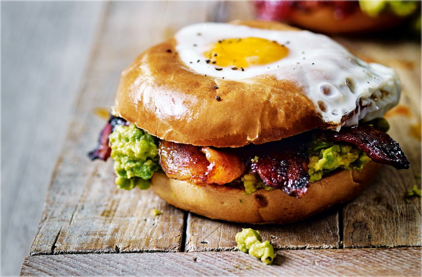 Egg in a hole with spicy bacon and guacamole - Breakfast Recipes With Bacon