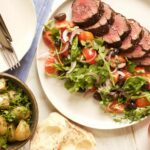 Eye Fillet With Mediterranean Salad And Herby New Potatoes – Recipes Beef Eye Fillet