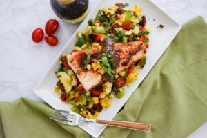 Fire Roasted Vegetables with Balsamic Grilled Fish - Green Bean Blog