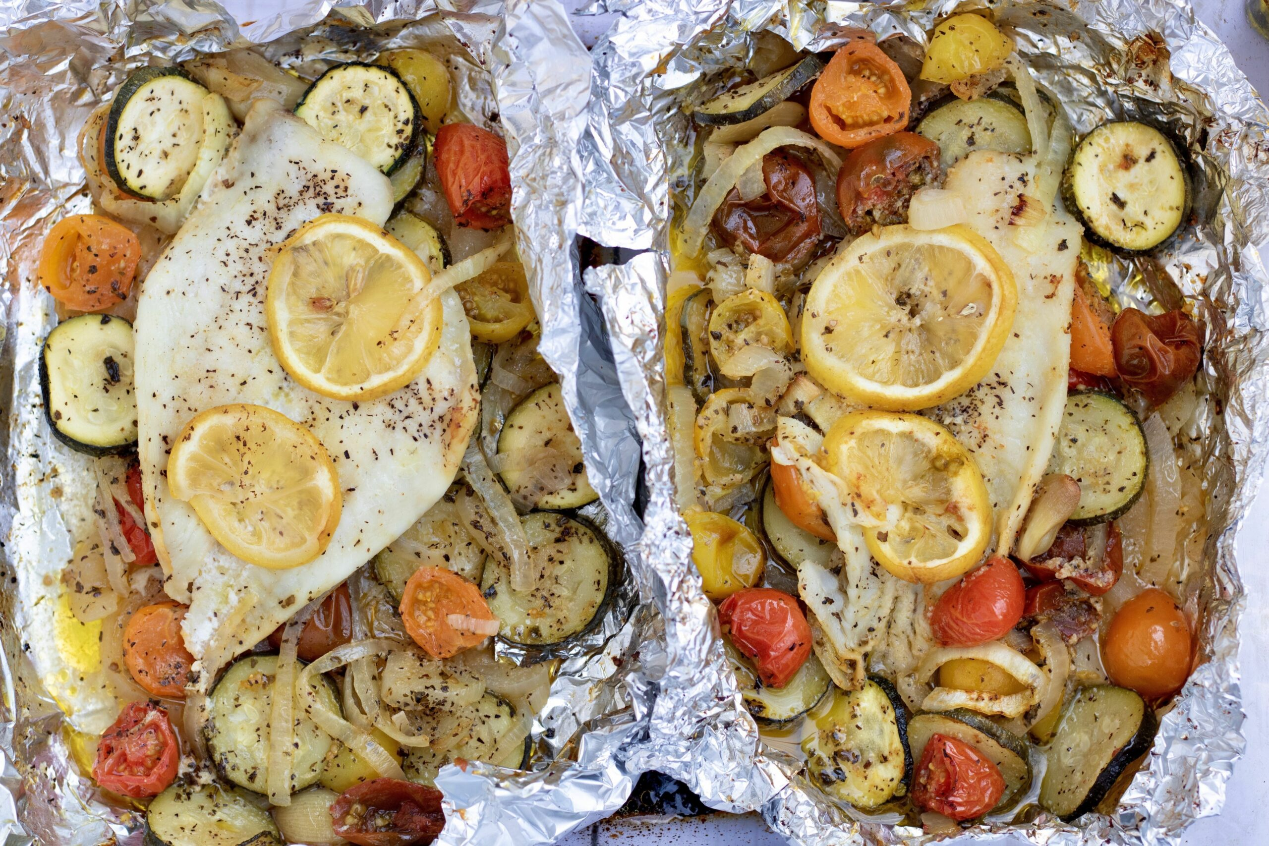Foil Baked Fish with Veggies - Recipes Fish In Foil Packets