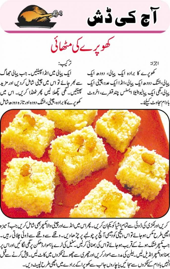 Food and Cuisine: Coconut Desert Recipe (Urdu) | Delicious deserts ..