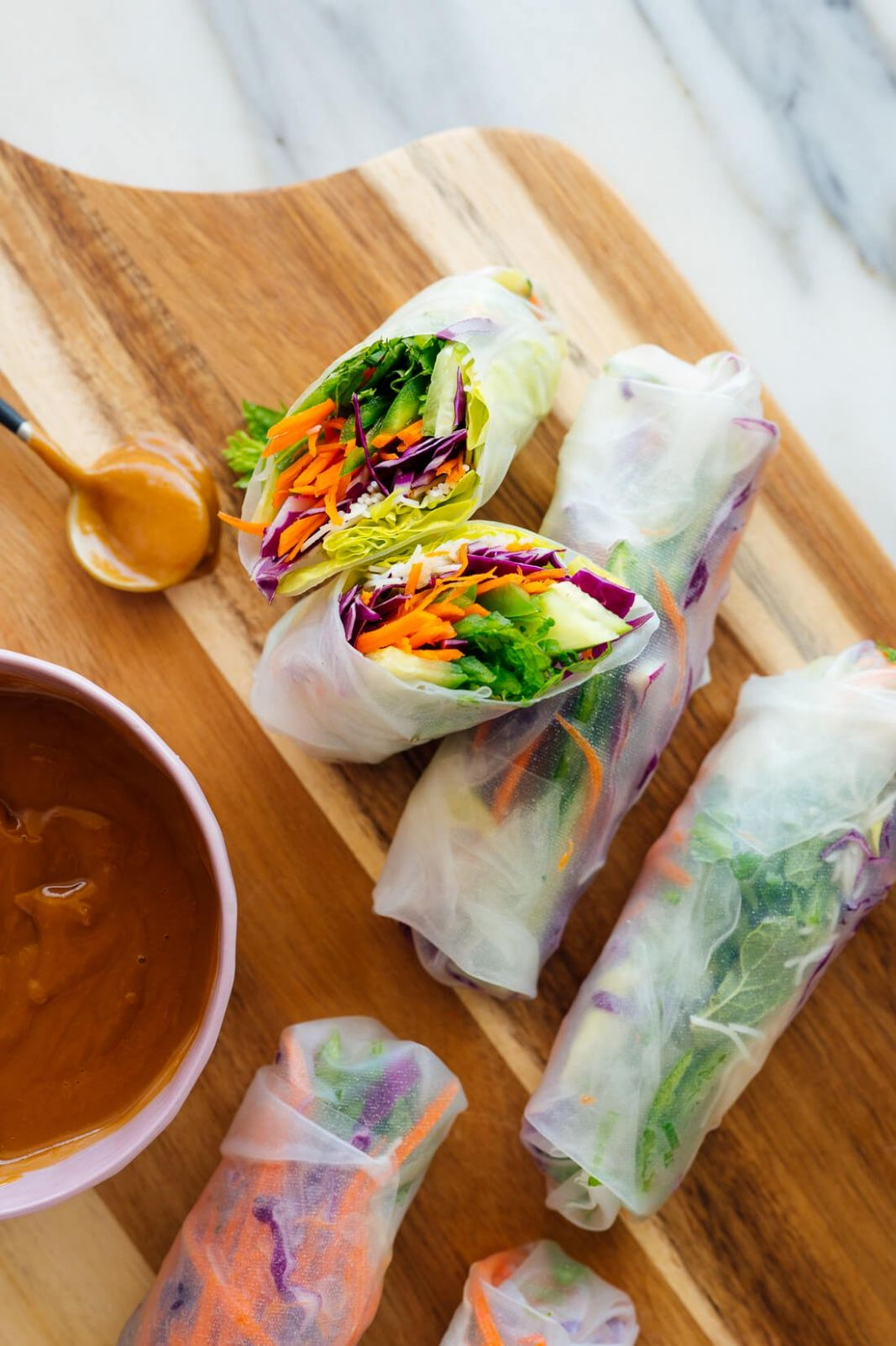 Fresh Spring Rolls with Peanut Sauce - Recipes Rice Wraps